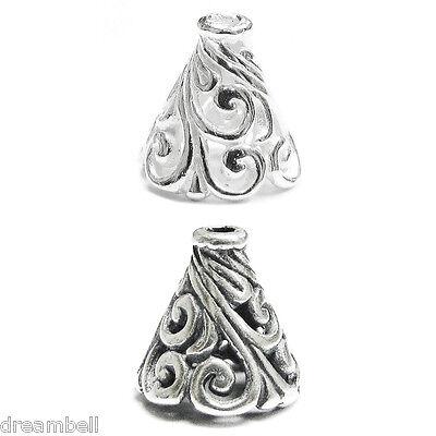 2x Sterling Silver Flower Filigree Bead Cone Cap 10mm Ebay