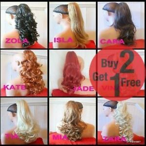 CLIP-ON-PONYTAIL-HAIR-EXTENSION-Curly-Wavy-Straight-Blonde-Brown-Red-Ginger-plum