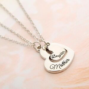 DUAL HEART SHAPED MOTHER DAUGHTER PENDANT NECKLACE TWINSET MOTHERS DAY GIFT