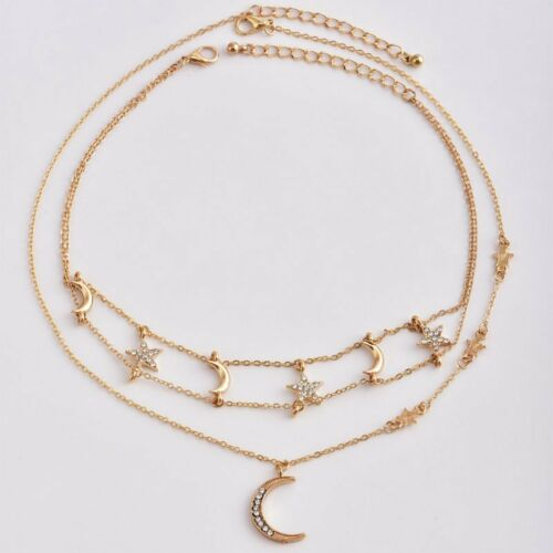 Boho Multi-layer Crystal Star Moon Pendant Necklace Charm Chain Women Jewelry