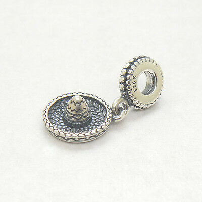 New Mexican Sombrero Hat 925 Sterling Silver Dangle Charm Pendant Bead beautiful