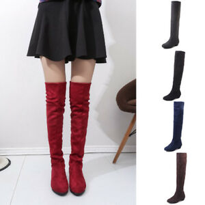Women-Fashion-High-Over-The-Knee-Boots-Low-Heel-Elastic-Suede-Riding-Boots-Shoes
