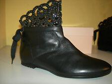 MISS BLUMARINE B8182 Evolution Nero Stiefeletten Leder Italy Gr.38 LP349€ Neuw