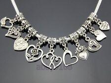 Wholesale 50 Tibetan Silver 10style Mix Heart Dangle Charms For Bracelet #ZN017