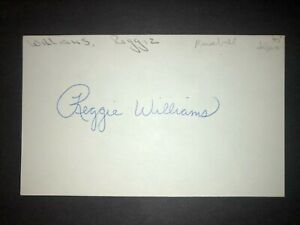 1985 DODGERS: Reggie Williams, SIGNED 3x5 Card (REA)
