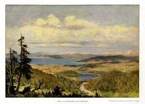 Blick vom Fjeldsaeter auf Trondheim Kunstdruck 1911 Norwegen Drontheim