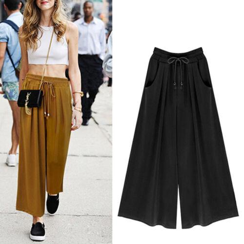 Women Ladies Cotton Plain Flared Wide Leg Pants leggings BaggyTrousers Plus Size
