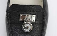 Michael Kors Size 6 Women's Black 100% Grain Leather Silver Hamilton Loafer