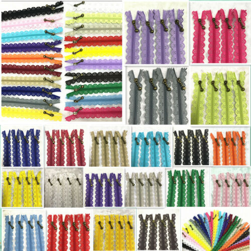 20-50cm Lace Closed End Zippers 3#Nylon For Purse Bags Multicolor Sewing 5//10pcs