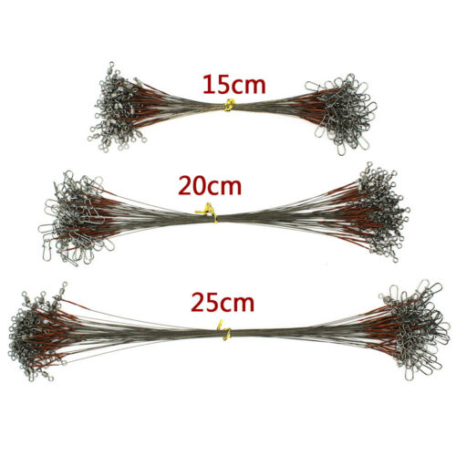 50pcs Fishing Wire Leader Rig Swivels Snaps Stainless Steel Brown Uncoated Line