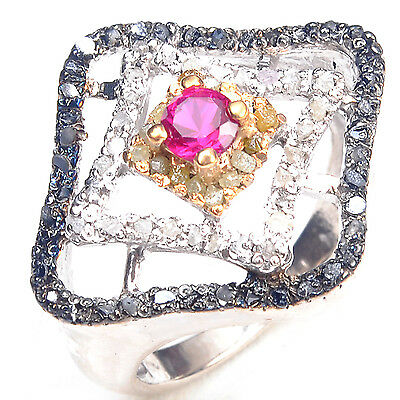 Jewelry & Watches Raw Natural White/golden Diamond 925 Sterling Silver Engagement Ring Size 8.25 Strong Packing Diamond
