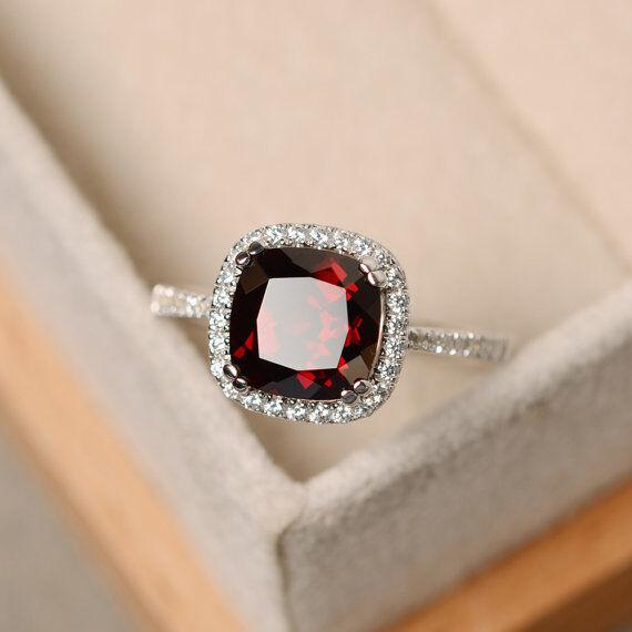 Real 14K White gold 2.70 Ct Garnet Diamond Engagement Ring Cushion Cut Size 7.5