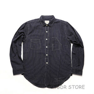 Bronson-Vintage-Stripe-Work-Shirt-30s-Men-039-s-Long-Sleeve-Button-Down-Casual-Shirt
