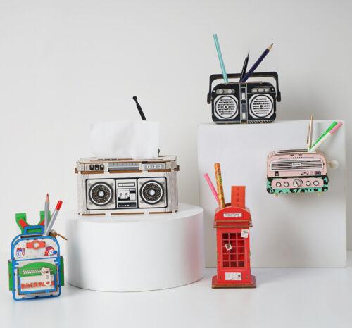Rolife 3D Wooden Puzzle DIY Wooden Penholder Box Handmade Toy Gift for Kids Girl
