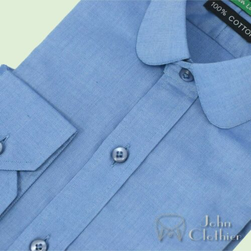 Details about  /Peaky Blinders Penny collar Mens Bankers Cotton shirts Blue oxford checks Round