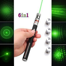 Powerful 5mw 532nm 6 in 1 Green Lazer Beam Light Laser Pointer Pen 5 Caps