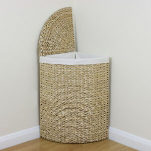 Image is loading Corner-Woven-Laundry-Basket-Cloth-Lining-Lid-Hamper- c3b649fb4512