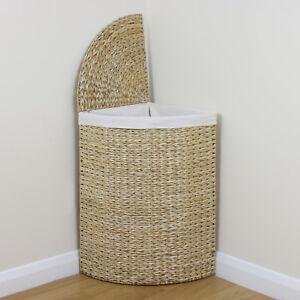 Corner Woven Laundry Basket Cloth Lining Lid Hamper Bin