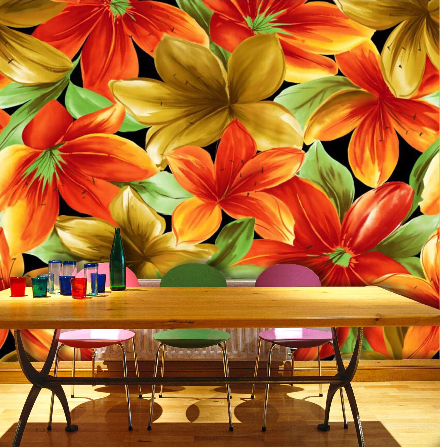 3D Bright Farbe Lily 7 Wall Paper Murals Wall Print Wall Wallpaper Mural AU Kyra