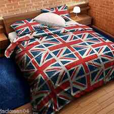 PCJ SUPPLIES UNION JACK FLAG RED WHITE BLUE SINGLE COTTON BLEND DUVET COVER