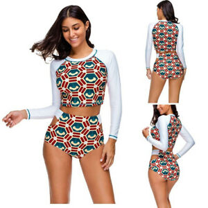 44c83604b0e87 Image is loading Vintage-Lady-Tankini-Swimsuits-Padded-Long-Sleeve-Bathing-