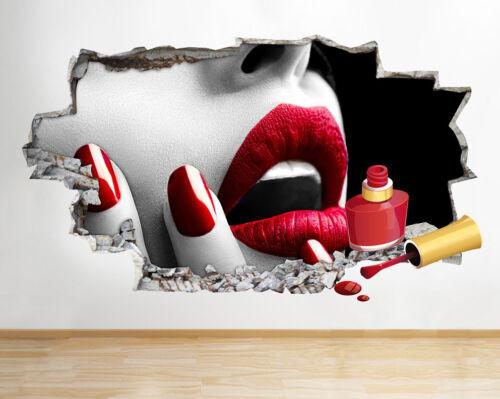 M778 ongles rouges Salon De Beauté Lèvres Smashed Applique Murale 3D Art Stickers Vinyl Chambre