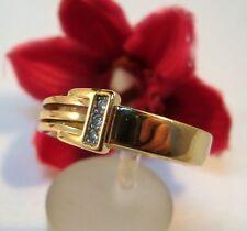 Ausgefallener Pierre Lang Ring mit Steinchen vergoldet Fingerring / bl 688