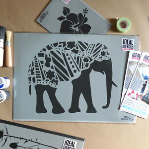 Image Is Loading Elephant Stencil Pattern Decorative Indian Painting Wall Decor