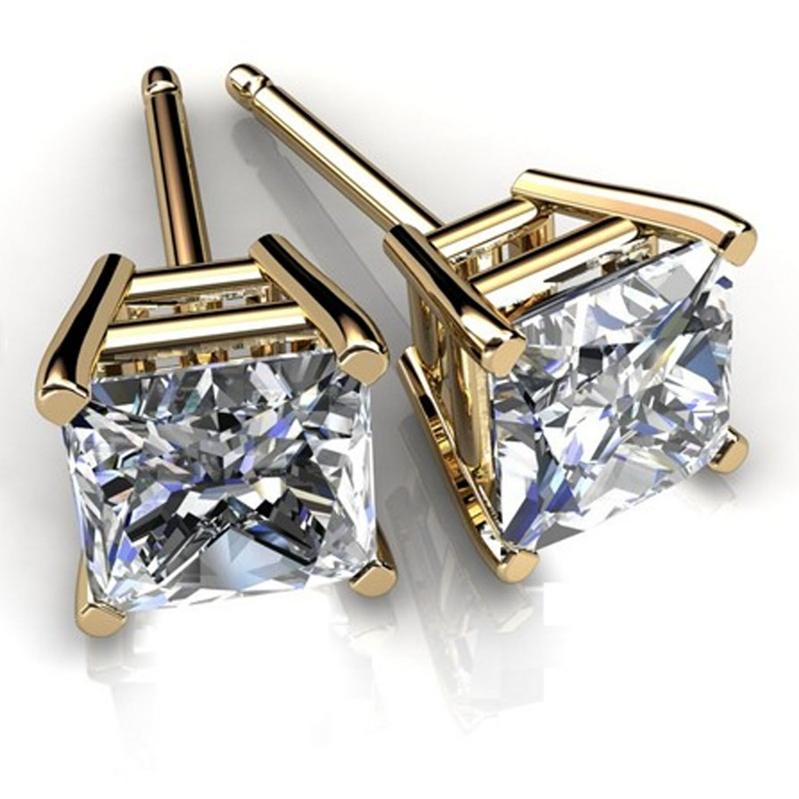 2.00ct Diamond Earrings 14K Yellow gold Stud  Women Jewelry VVS1 D Studs