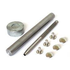 8mm Tapa de doble mano herramienta Remaches de Latón Die Punch Set coser cuero Arts 100 piezas