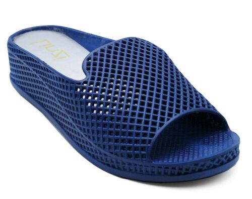 Femme Bleu Bout Ouvert Été Compensé Sandales Mules Vacances Gelée Pointure UK 4-8