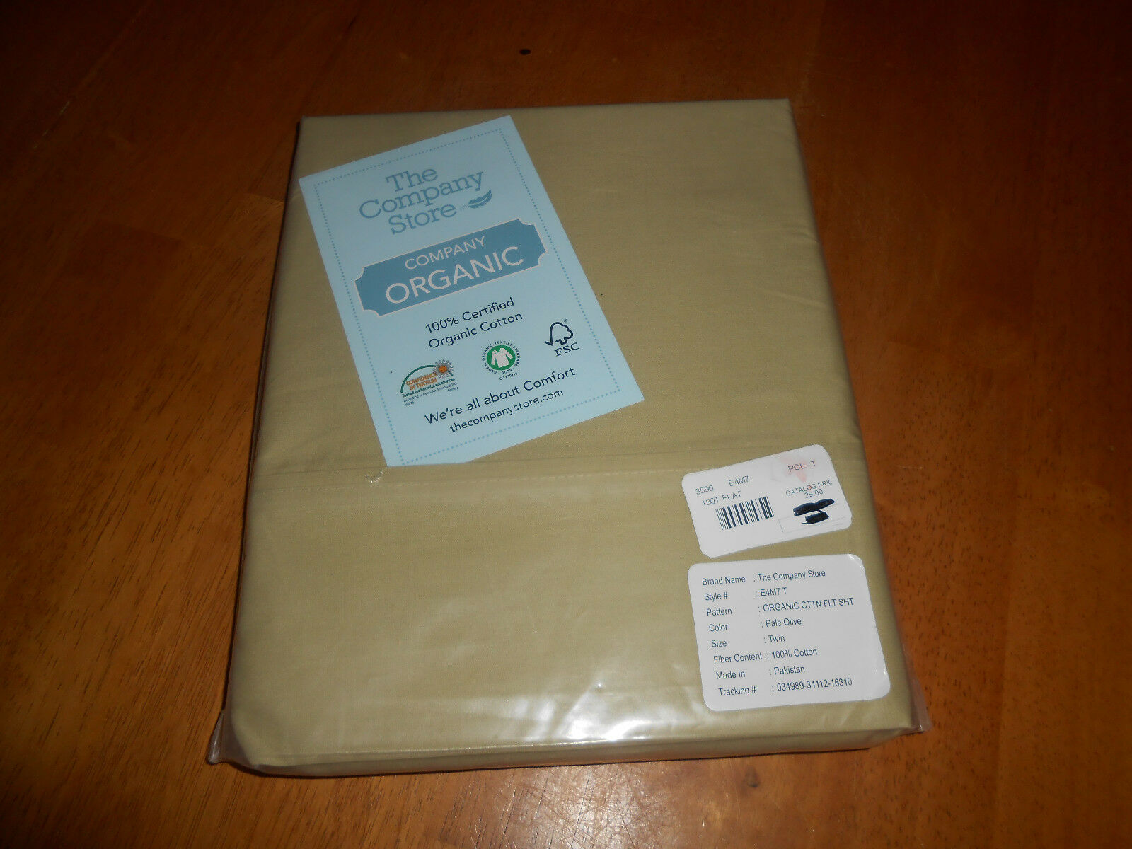 New The Company Store Style E4M7 Queen Size Flat Sheet Pale Olive Organic Cotton