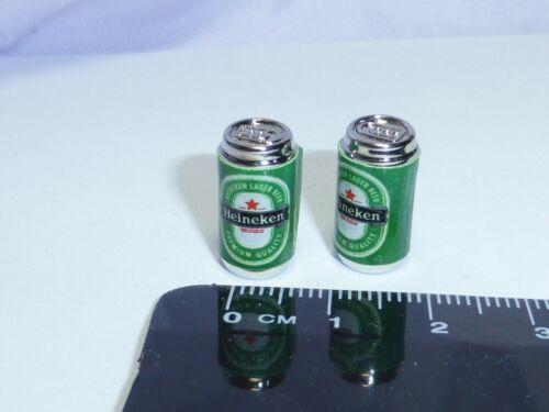 1:12 escala 2 latas vacías Heineken Bebida Casa De Muñecas En Miniatura