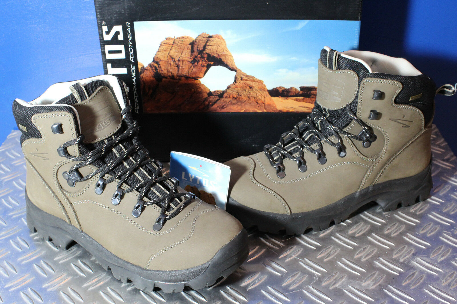LYTOS Outdoor Wanderschuhe Trekking Schuhe Stiefel Schnürer Leder Textil braun 45  | Online Shop Europe