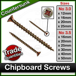 WOOD CHIPBOARD SCREWS Posi Countersunk Waxed Screw SINGLE THREAD Bulk 3.0 / 3.5