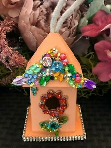 Bird House embellished with jewels, flowers, crystals. Hand made with love.