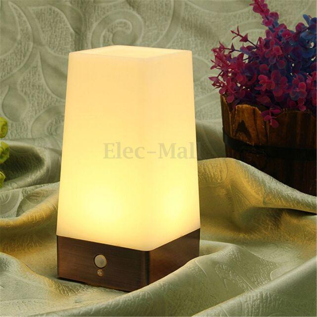 Wireless Motion Sensor Bedroom Night Light Battery Powered LED Table Lamp