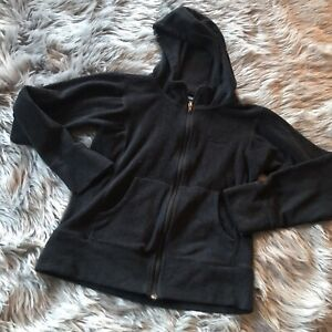 Women-039-s-Patagonia-Synchilla-Black-Zip-Up-Hooded-Fleece-Jacket-Extra-Small-Faded