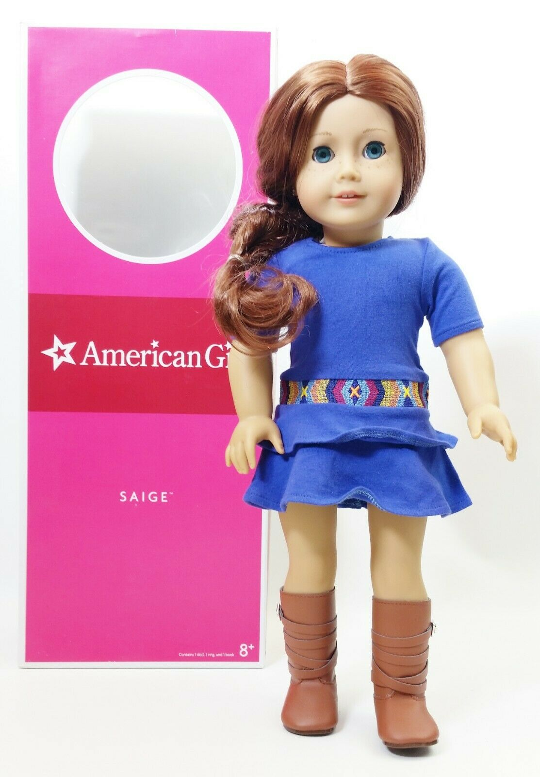 American Girl SAIGE Doll Ring And Book NIB