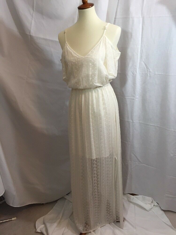 New Women's Ella Moss 100% Silk Maxi Dress Natural cream Sz M