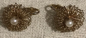 Vintage Gold Wire With  Pearl Accents Clip Earrings