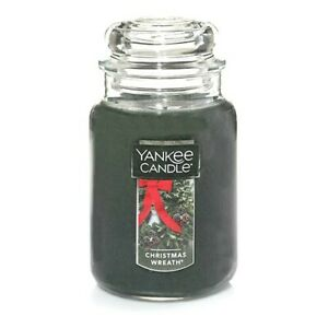 CHRISTMAS-WREATH-LARGE-YANKEE-CANDLE-JAR-FREE-SHIPPING-GREAT-CHRISTMAS-SCENT