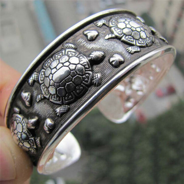 Tibet Silver Plated Carved Longevity Turtle Pattern Bracelet Party Gift WG