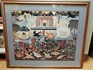 Anna-Pugh-Vintage-Folk-Art-Matted-amp-Framed-Art-Print-034-Bird-Tables-034-38-034-x-33-034