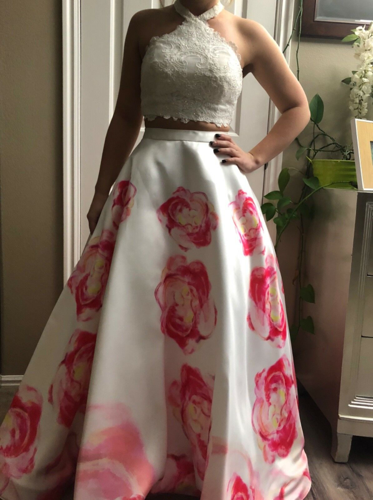 Ellie Wilde white and pink floral prom dress