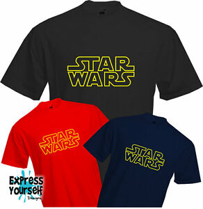 STAR-WARS-CLASSIC-T-Shirt-Retro-Gold-Logo-Sheldon-Fun-Cool-Quality-NEW