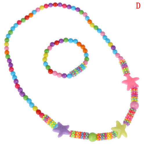 1Set new child beads necklace colorful girls bubblegum handmade for kids toy FG