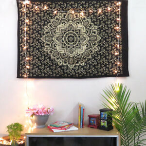 Image Is Loading Black Gold Poster Mandala Tapestry Wall Indian Decor