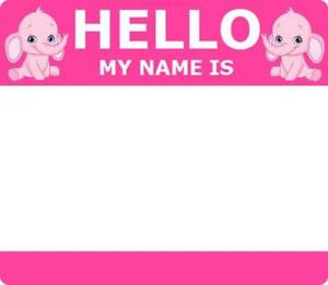 personalised name tag self adhesive sticker hello my name is baby