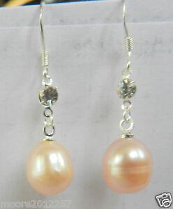 New-Natural-10-11mm-pink-Freshwater-Pearl-Silver-Hook-Earrings